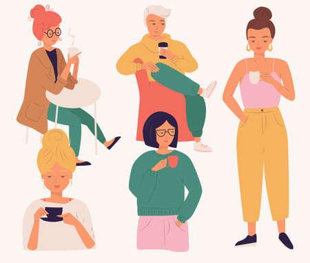 Grupo de jóvenes tomando café. Ilustración de vector