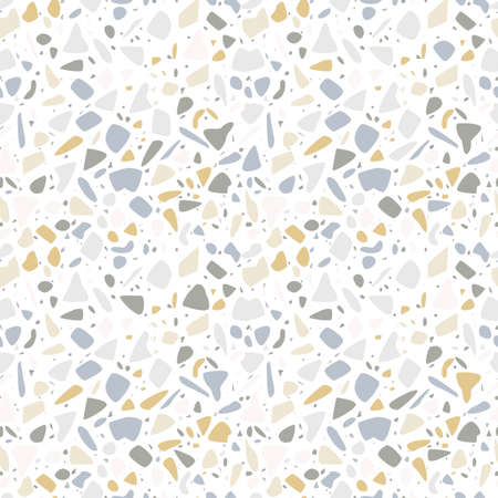 Terrazzo seamless pattern design with hand drawn rocks. Abstract modern background, flat vector illustration