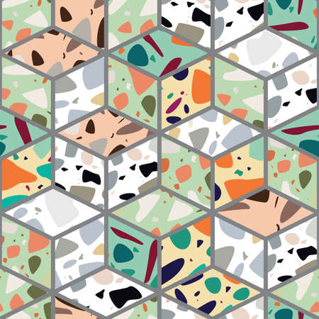 Terrazzo seamless pattern design with hand drawn rocks with honeycomb pattern. Abstract modern background, flat vector illustration