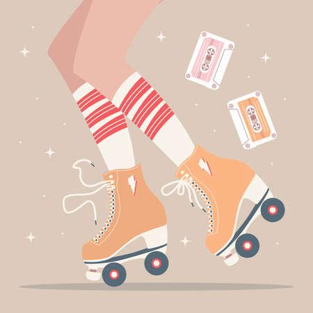 Ilustración dibujada a mano con piernas femeninas y calcetines de tubo y patines retro. Ilustración de vector colorido Ilustración de vector