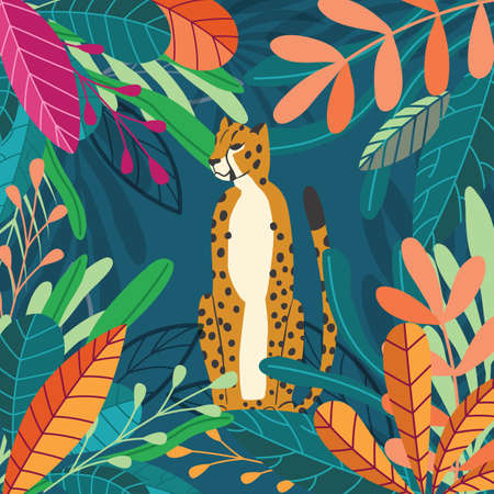 Cute exotic wild big cat cheetah sitting on dark tropical background with collection of exotic plants. Flat vector illustration