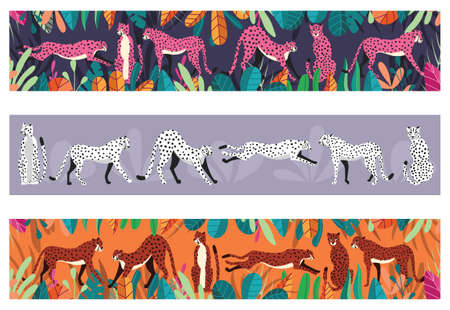 Collection of cute hand drawn cheetahs on horizontal background, standing, stretching, running and walking with exotic plants. Flat vector illustration Illustration