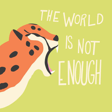Cute exotic wild big cat cheetah roaring on mint green background with hand lettering message. Flat vector illustration