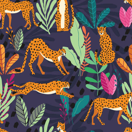 Seamless pattern with hand drawn exotic big cat cheetahs, with tropical plants and abstract elements on dark purple background. Colorful flat vector illustration