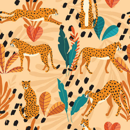 Seamless pattern with hand drawn exotic big cat cheetahs, with tropical plants and abstract elements on light orange background. Colorful flat vector illustration Illustration