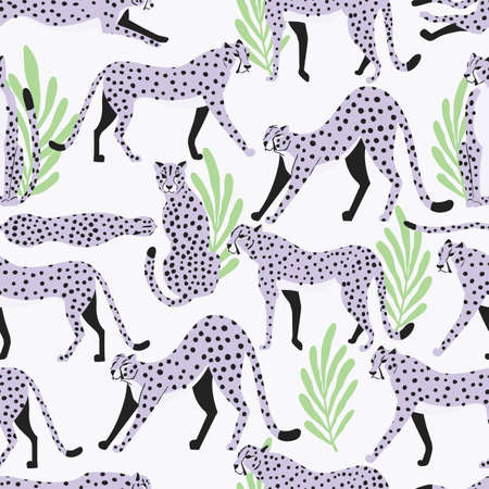 Seamless pattern with hand drawn exotic big cat light purple cheetahs, with tropical leaves on white background. Colorful flat vector illustration Vectores