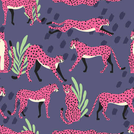 Seamless pattern with hand drawn exotic big cat pink cheetahs, with tropical plants and abstract elements on purple background. Colorful flat vector illustration
