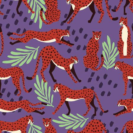 Seamless pattern with hand drawn exotic big cat cheetahs, with tropical plants and abstract elements on purple background. Colorful flat vector illustration