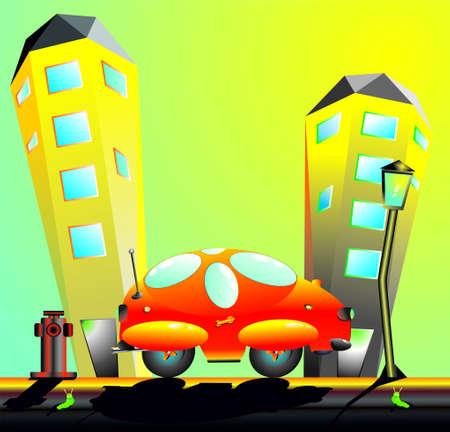 Cartoon car in the city