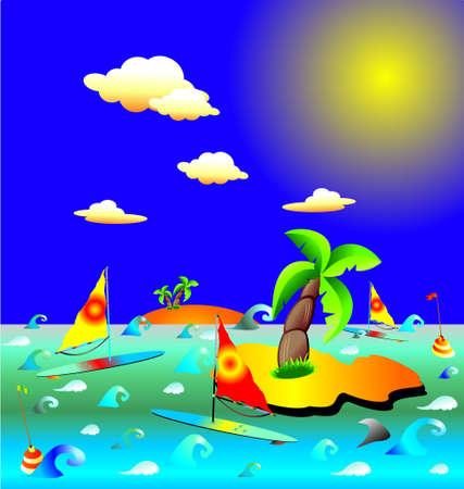 Windsurf in exotic beach