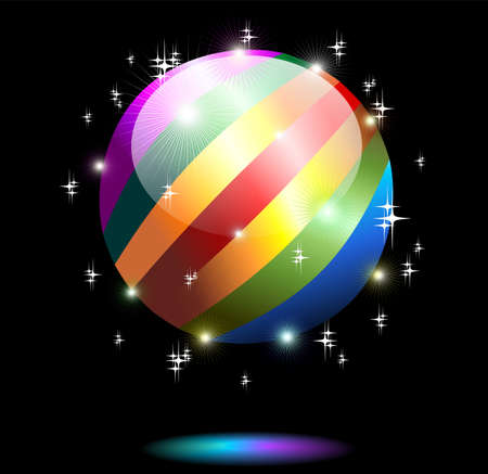 Rainbow Crystal Globe Planet on Black Background Stock Vector - 13862389