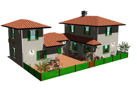 Bed and Breakfast 3D model Stock Photo