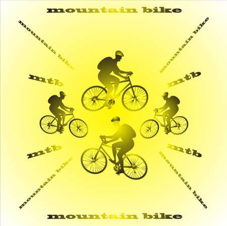 Mountain bike yellow background Illustration