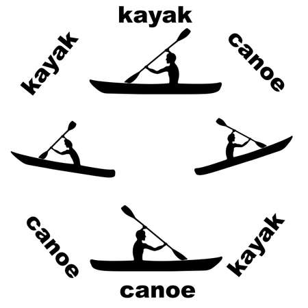 Canoe black and white background Vector