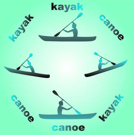 Canoe blue background