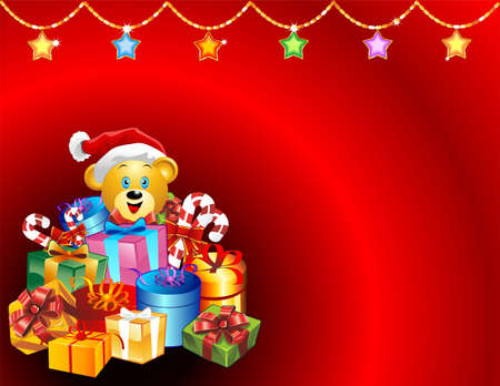 Christmas Greeting Card with Gifts and Santa Teddy Bear Vector