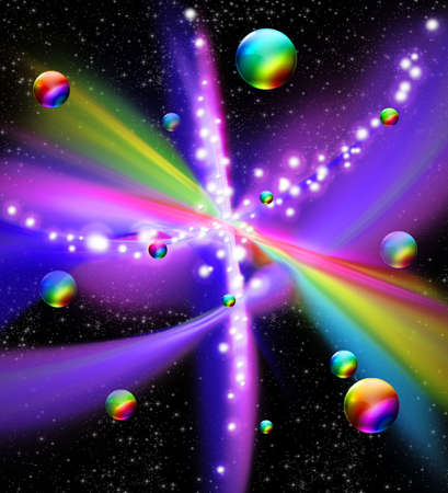 Universe Galaxy Fantasy Rainbow Colors Stock Photo