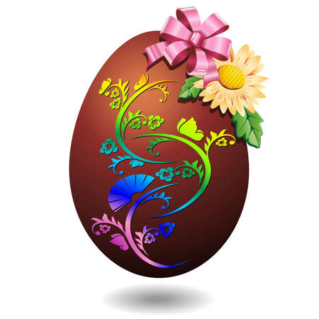 Chocolate Easter Egg with Pink Bow and Spring Flower Stock Vector - 17834411