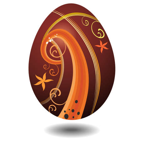 Chocolate Easter Egg with Abstract Orange Floral Decoration