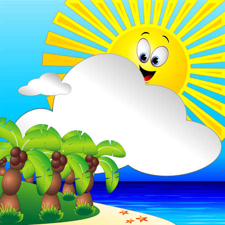 Summer Holidays Tropical Beach and Palm Trees Clip Art Illustration