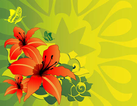 lilium: Spring Lilium Lily Flower Card Background Illustration