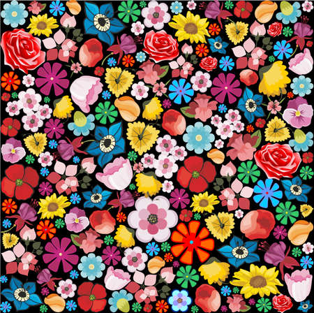 floriculture: Spring Flowers Pattern on Black