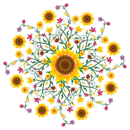 Sunflower Mandala Stock Vector - 18354073