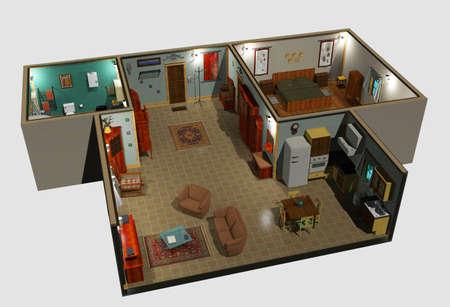 Kochnische Wohnzimmer Mit Lizenzfreie Bilder