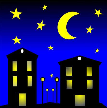 moonlit: city by night clip art Illustration
