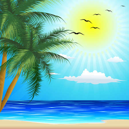 Tropical Beach for Exotic Summer Holiday Illustration