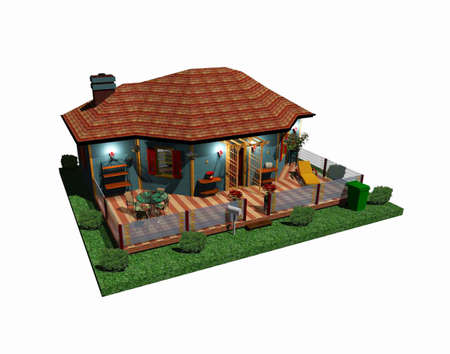 architectonics: house with quad Stock Photo
