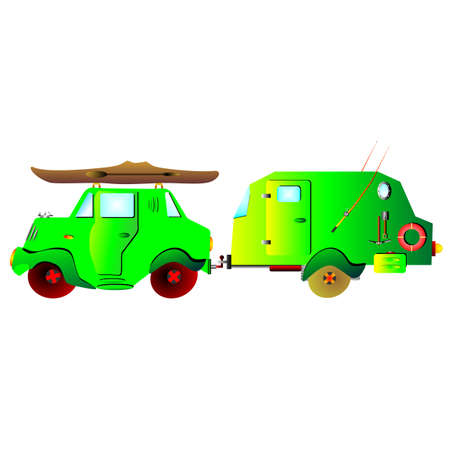 dugout: car with Caravan cartoon Illustration