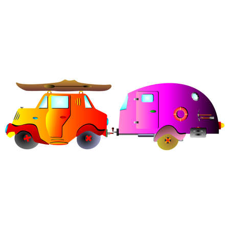 dugout: car with Caravan and canoe cartoon