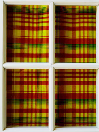 architectonics: Window with curtains fabric madras