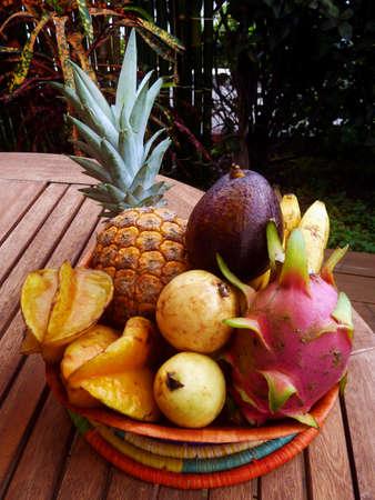 Tropical fruit basket Stock Photo