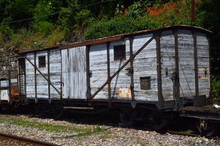 old railway wagon Stock Photo
