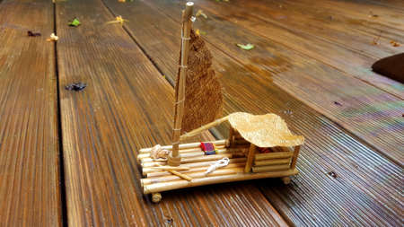 Model bamboo raft