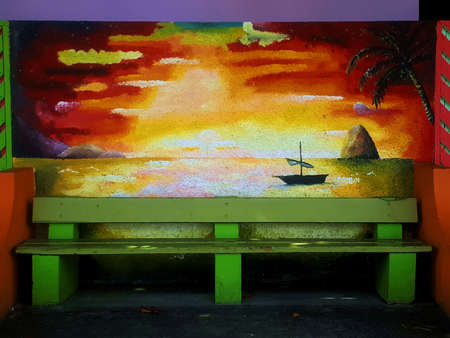 Bench and murals