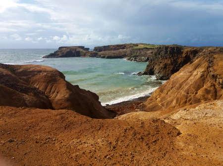 coastal seascape cliffs on windy ocean Stock Photo