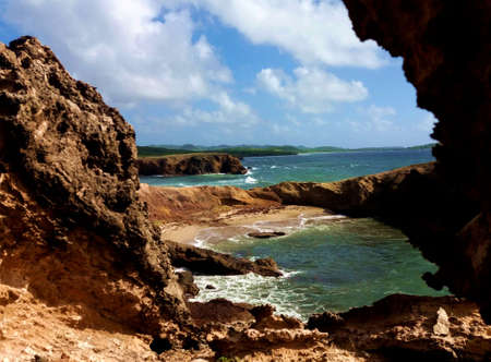 Glimpse of coastal seascape on windy ocean Stock Photo
