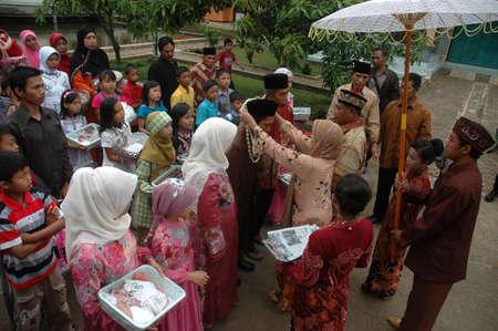 cikijing, west java, indonesia - july 10, 2011  west java traditional wedding ceremonial