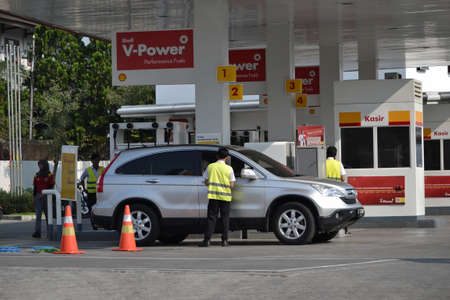 bandung, indonesia-june 16, 2014  shell gas station that located in pasteur area-bandung