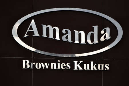 cake factory: bandung, indonesia-july 29, 2014  amanda brownies logo  amanda brownies is one of famous cake factory within brownies speciality from bandung, west java-indonesia