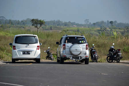 honda: bandung, indonesia-august 1, 2014  white colored honda freed and silver colored daihatsu terios parked beside road