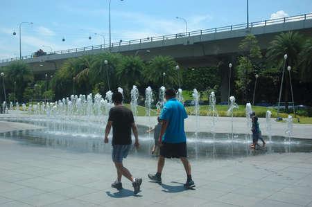vivo: Singapore, Singapore - April 13, 2013: Garden fountain at Vivo City Singapore.