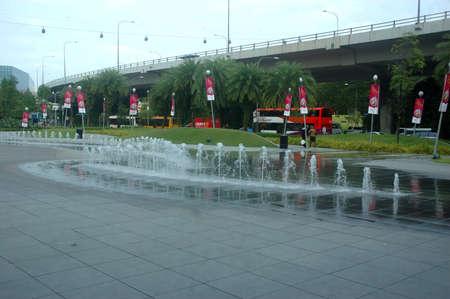 vivo: Singapore, Singapore - January 18, 2014: Garden fountain at Vivo City Singapore. Editorial