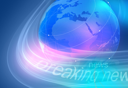 Graphical breaking news blue background with earth globe.