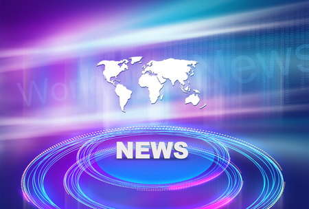 Graphical news background with 3d platform and news text