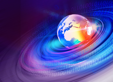 digital world: Graphical digtial world background with earth globe and digital numbers.