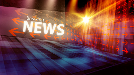 Graphical digital news background with arrows and news text Stockfoto